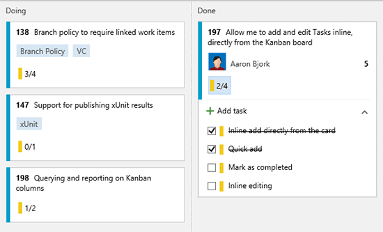 Inline tasks on the Kanban board