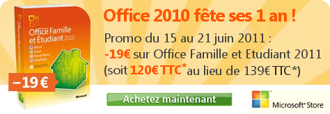 Promo anniversaire Office 2010
