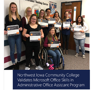 Image of nine Northwest Iowa Community College women students smiling and holding their Microsoft Office Specialist certificates