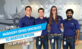 Image of Katie Murray at Textron Aviation where she earned an internship because of her Microsoft Office Specialist certifications.