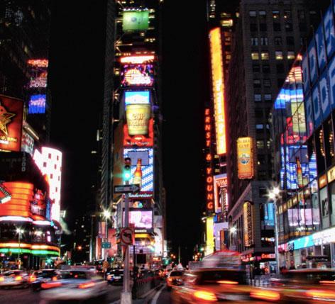Vue de nuit de New York.