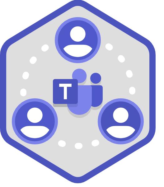 Dessin montrant trois personnes qui communiquent ensemble via Teams.