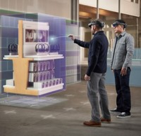 Personnes manipulant de la réalité virtuelle avec des casques HoloLens.