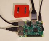 写真 1:<br /> 実験中の Raspberry Pi 3 と SensorTag