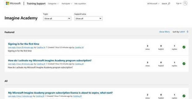 screenshot of the new Microsoft Imagine Academy online support forum