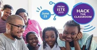 advertisement for Hack the Classroom with teacher surrounded by students