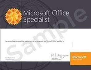 Microsoft Office Specialist certification certificate
