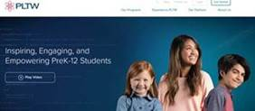 image of Project Lead the Way website homepage with 3 smiling students